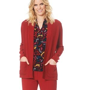 NWT! Anne Klein Malibu Open-Front Cardigan Red